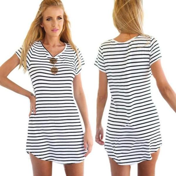 stripdres, Fashion, Sleeve, Mini