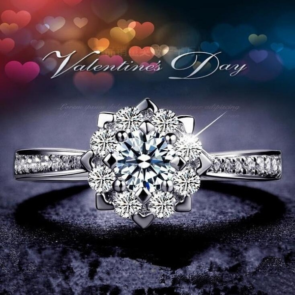 Sterling, DIAMOND, wedding ring, Crystal