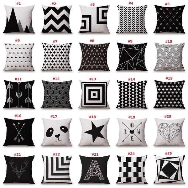 crosspillowcase, snowflakepillowcase, Black And White, arrowpillowcase