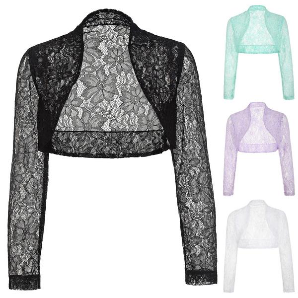 V-neck Wedding Bolero Jacket White Ivory Long Sleeves Lace Bridal Shawl Tops