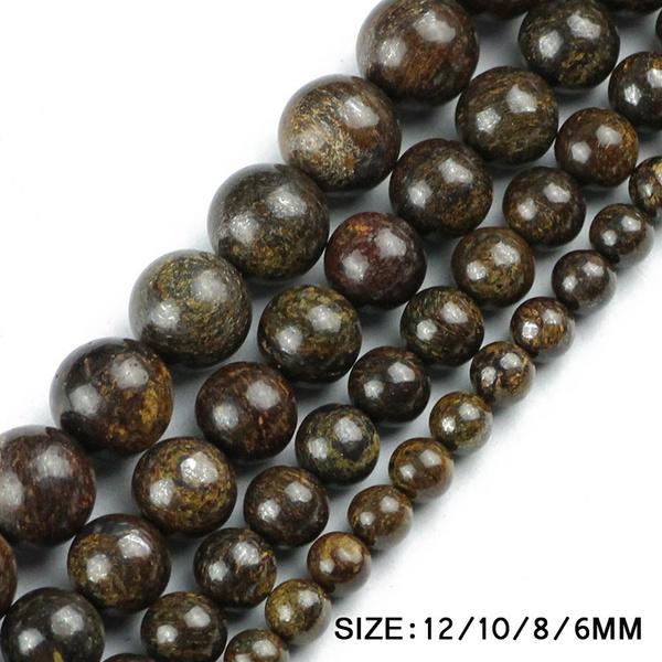 diyjewelry, jewelrybeadsandstone, bronzitebead, naturalbronzitestoneroundbead