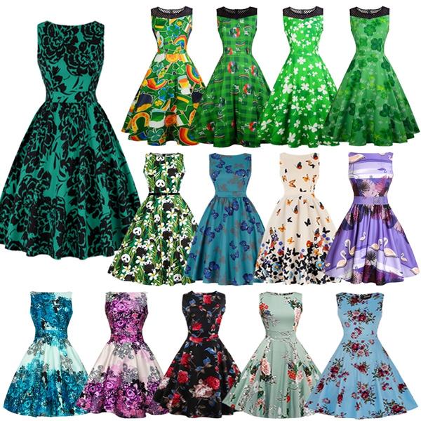 Swing dress, vintageretrodre, Floral print, Cocktail