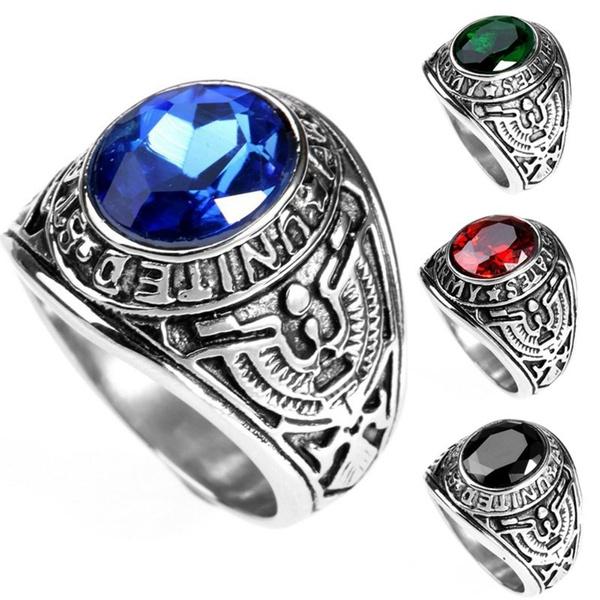 Steel, crystal ring, 925 sterling silver, Christmas