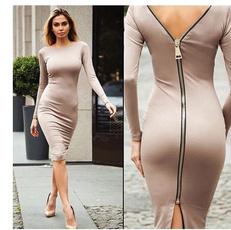 Slim Fit, Sleeve, Zip, Long Sleeve