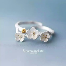 tailring, Sterling, cherryblossombranchring, 925 sterling silver