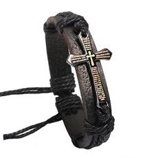 Christian, Jewelry, Cross Bracelet, leather