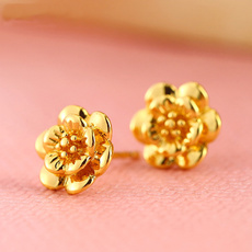 yellow gold, Flowers, Stud, gold