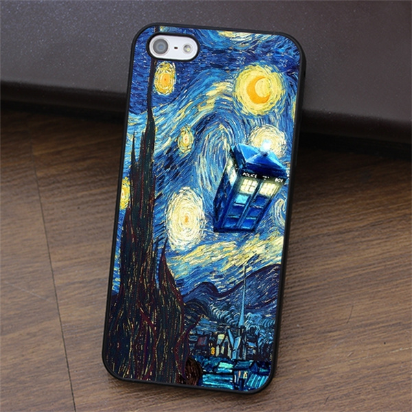 Tardis Doctor Who Starry Night van Gogh phone case cover for iphone 4 4s 5 5s SE 5c 6 6S / 6 Plus / 6S Plus for Samsung galaxy S3 S4 S5 S6 S7 NOTE 2 / ...