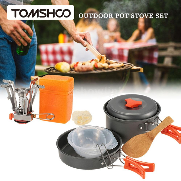 Backpacking Cook Stove Set Tomshoo Outdoor Camping Hiking Cookware With Mini Camping Piezoelectric Ignition Stove Backpacking Cooking Picnic Pot Stove Set Cook Stove Set X1e4u4s3 Wish