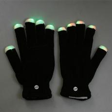 led, lights, Gloves, black