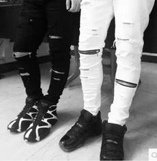 Casual pants, Bottom, rippedjean, street style