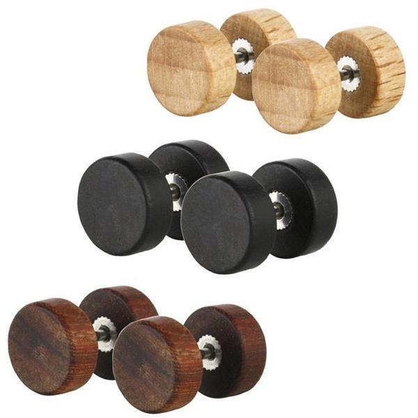 blackearringsformen, Steel, Fashion, woodenearring