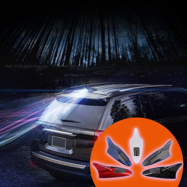 RollingBronze Solar Energy Wind Driven Car Front Lights Anti-Rear-end Shark Fin Antenna Light