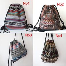 women bags, vintage backpack, Drawstring Bags, Fabric