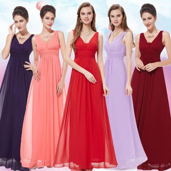Blues, Deep V-Neck, Women's Fashion, Evening Dress