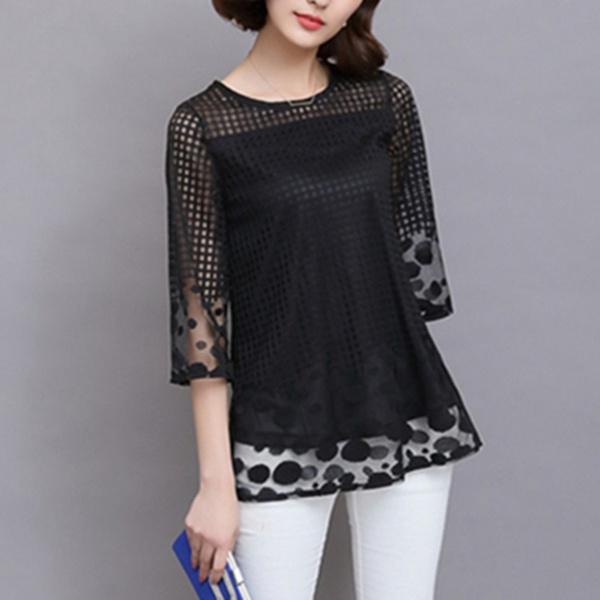 blouse, elegantchiffonblouse, lace shirts, Lace