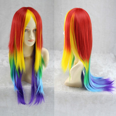 wig, rainbow, Cosplay, synthetic wig