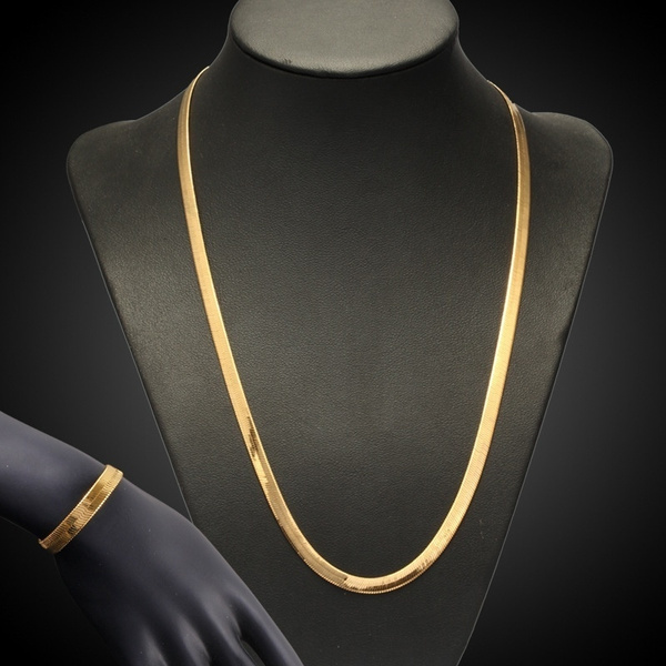 goldplated, Fashion, flatnecklace, gold