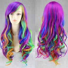 wig, rainbow, Cosplay, Curly