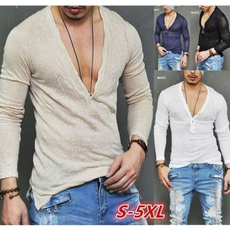 Deep V-Neck, slim, Sleeve, Long Sleeve