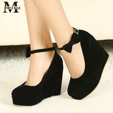 wedge, Sandals, Womens Shoes, bowknot