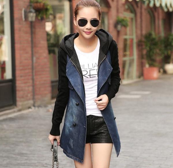 Fashion, Long Coat, Coat, Denim