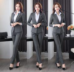 Gray, trousers, women pants suit, Office