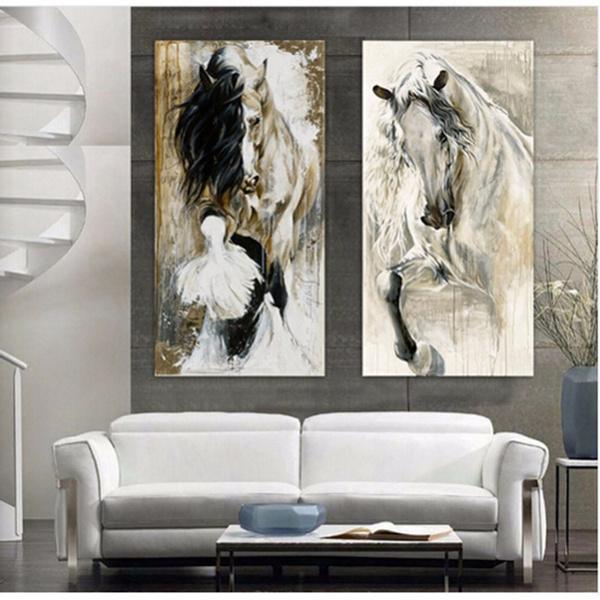 art print, minimalist, horse, Oil Painting On Canvas