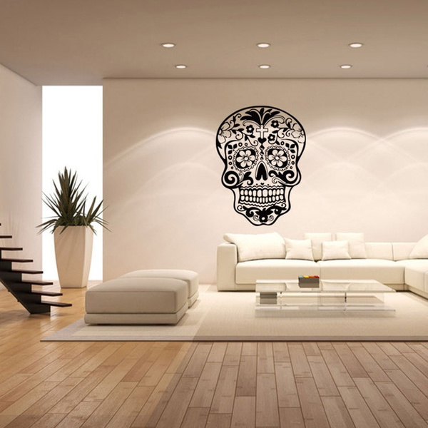 New Arrive Skull Wall Sticker Skull Punk Rock Creative Personality Removable Vinyl Wall Art Stickers Sugar Skull Decals Size 1 Wish