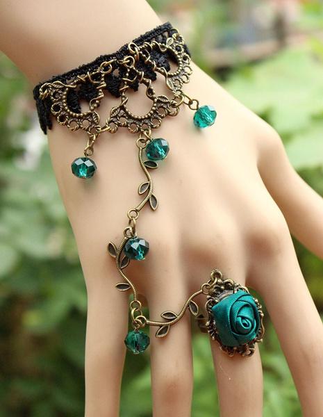 adjustablering, blackroselacebraceletwithchain, Chain, black lace
