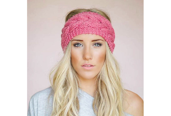Wide Knitted Woolen Headband Winter Warm Ear Crochet Turban Hair Accessori LC
