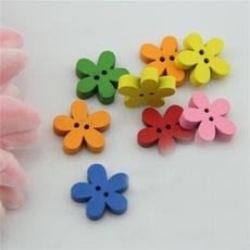 flowerwoodenbutton, Flowers, Colorful, Wooden