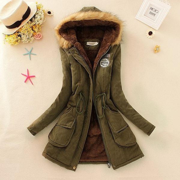 Collar, hooded, fur, women coat