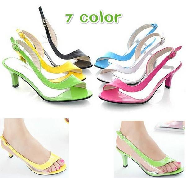 neon designer heels