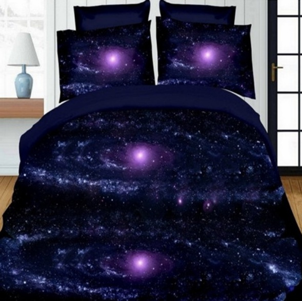 Home Bedding 3d Galaxy Quilt Cover, Queen Size Space Bedding