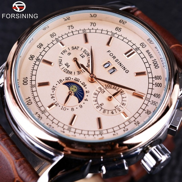 moonphasewatch, calendrierwatch, genuine leather, Mechanical