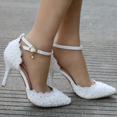 whitelaceheel, Plus Size, Lace, Womens Shoes
