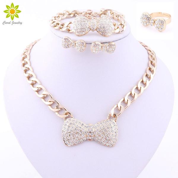 goldplated, necklacebraceletearringsringsset, Jewelry, Crystal Jewelry