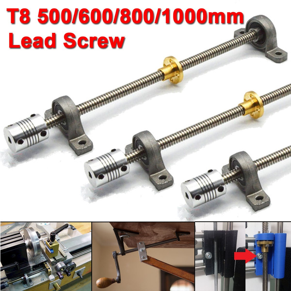 3D Printer T8 1000mm Lead Screw Rod Coupling Shaft Mounting Bearing Screw