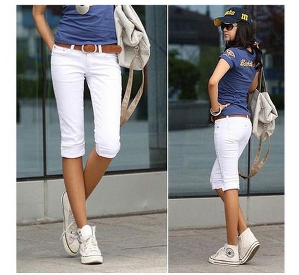 Women Pants, shorttrouser, slim, Elastic