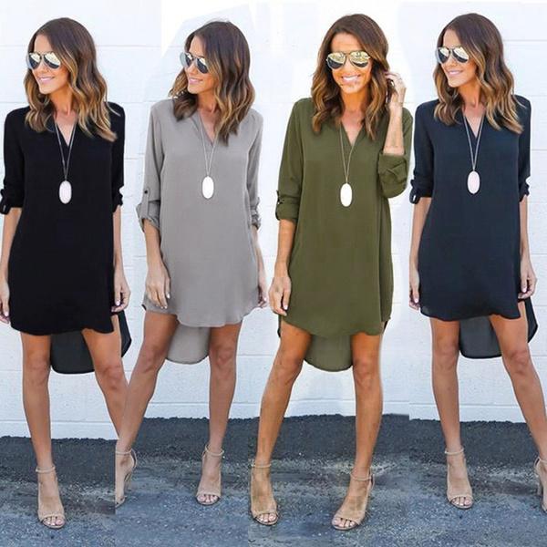 Plus Size, Long Sleeve Dresses, Necks, purecolordresse