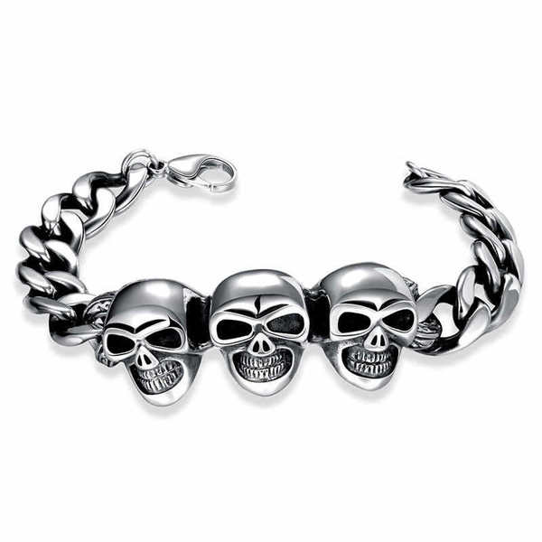 Charm Bracelet, Steel, Goth, womenchain