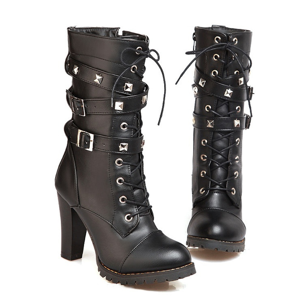 Winter Motorcycle Boots Women's Chunky