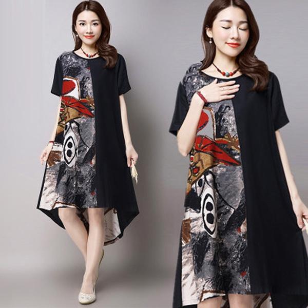 short sleeve dress, Chinese, long dress, Vintage