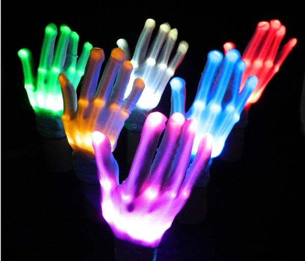 led, skull, Colorful, glowglove