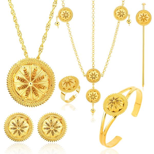 goldplated, 18kgoldplatedjewelryset, womenethiopianset, Jewelry
