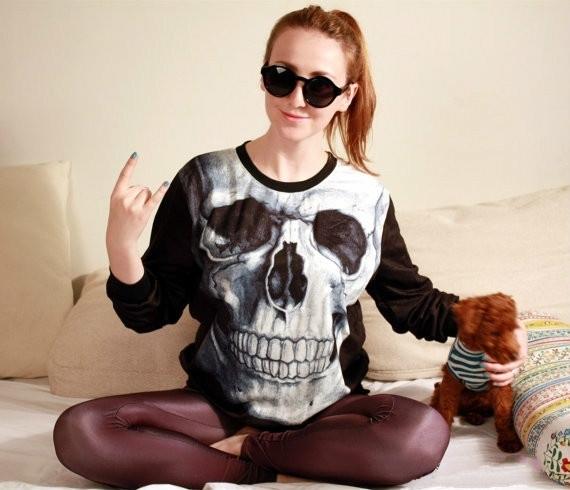Fashion, Skeleton, skull, Long Sleeve