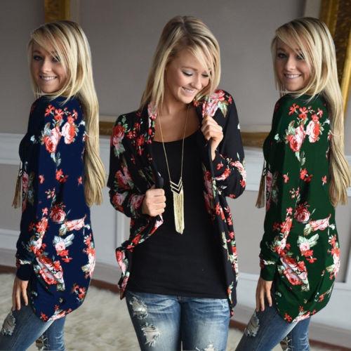 casual coat, cardigan, Floral print, women coat