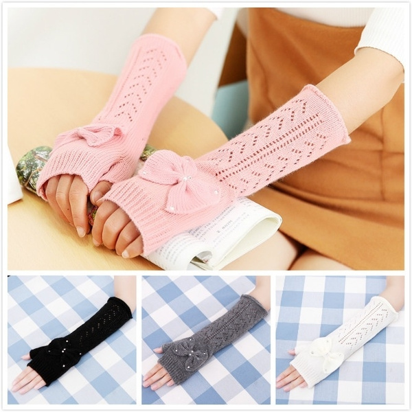 cute, bowknot, longfingerlessglove, Gloves