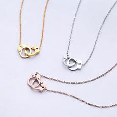 clavicle  chain, titanium steel, gold, Simple